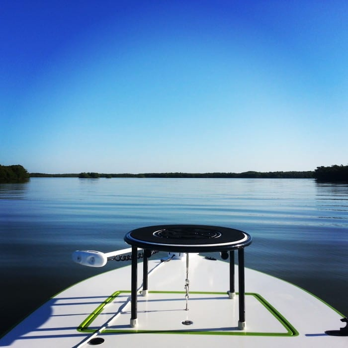 This is a photo of the bow of the boat where a fisherman stands to sight fish the Goodland Florida area